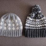 『編み込みこもの』のポンポン帽子と伝統柄の帽子
