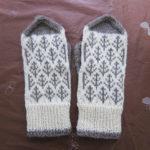 『編み込みこもの』の「森のミトン」を編みました