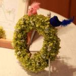 紫陽花のウェルカムアイテムとリングピロー
